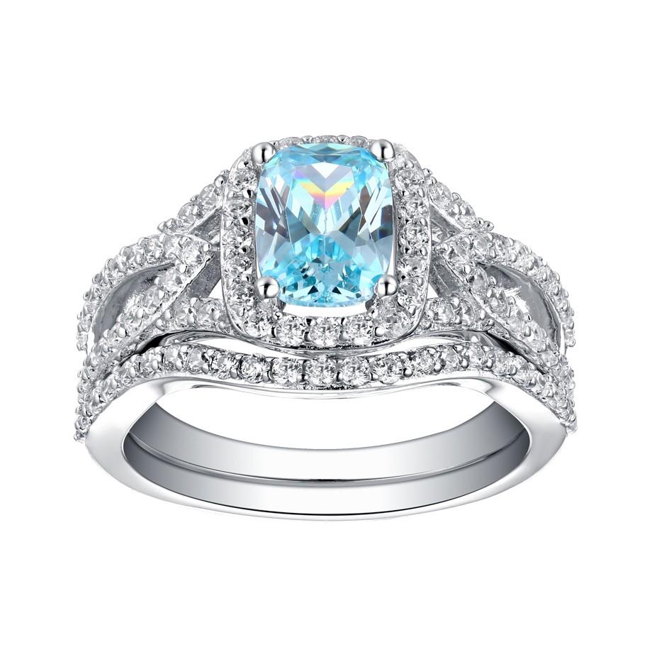Emerald Cut 925 Sterling Silver Aquamarine Halo Ring Sets