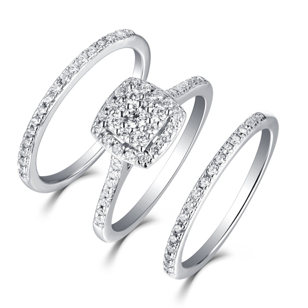 1f488a04b8 Round Cut 925 Sterling Silver White Sapphire 3 Piece Halo Ring Sets -  Joancee Jewelry