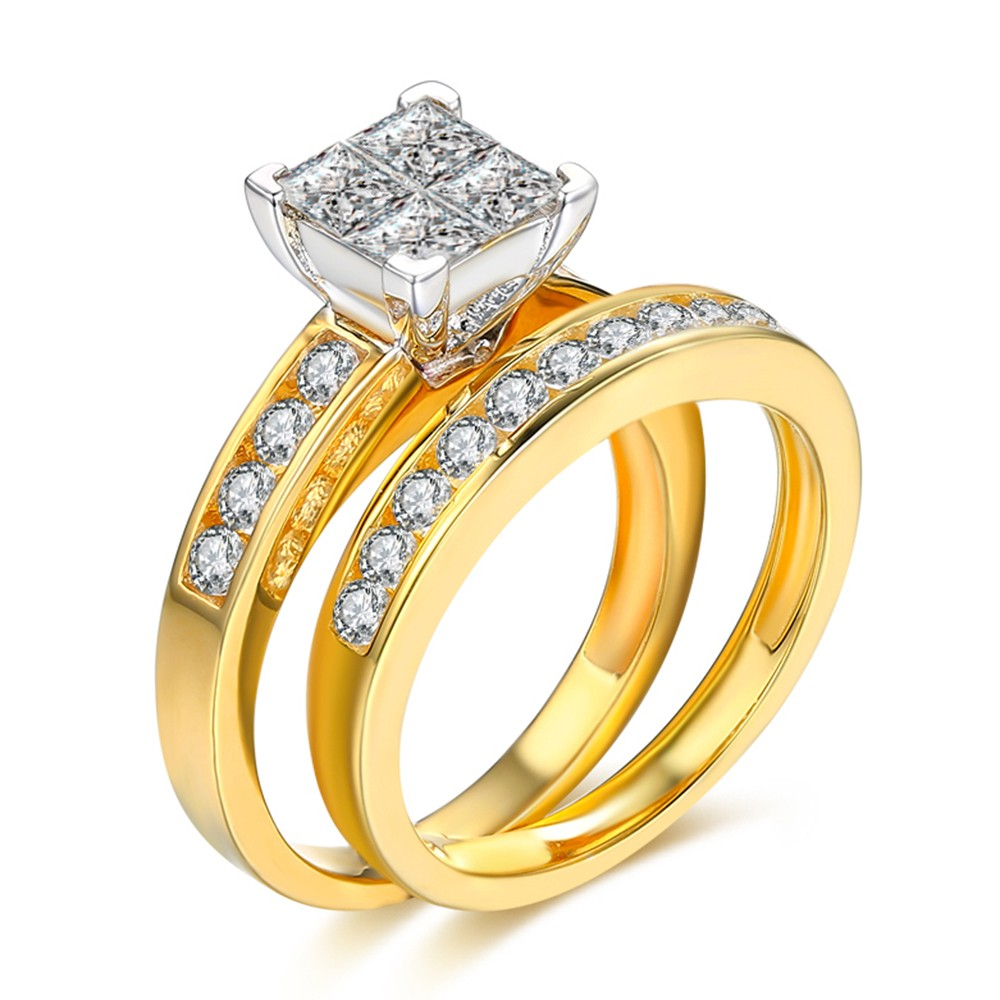 Princess Cut 1-1/2CT Gemstone 925 Sterling Silver Bridal Ring Sets