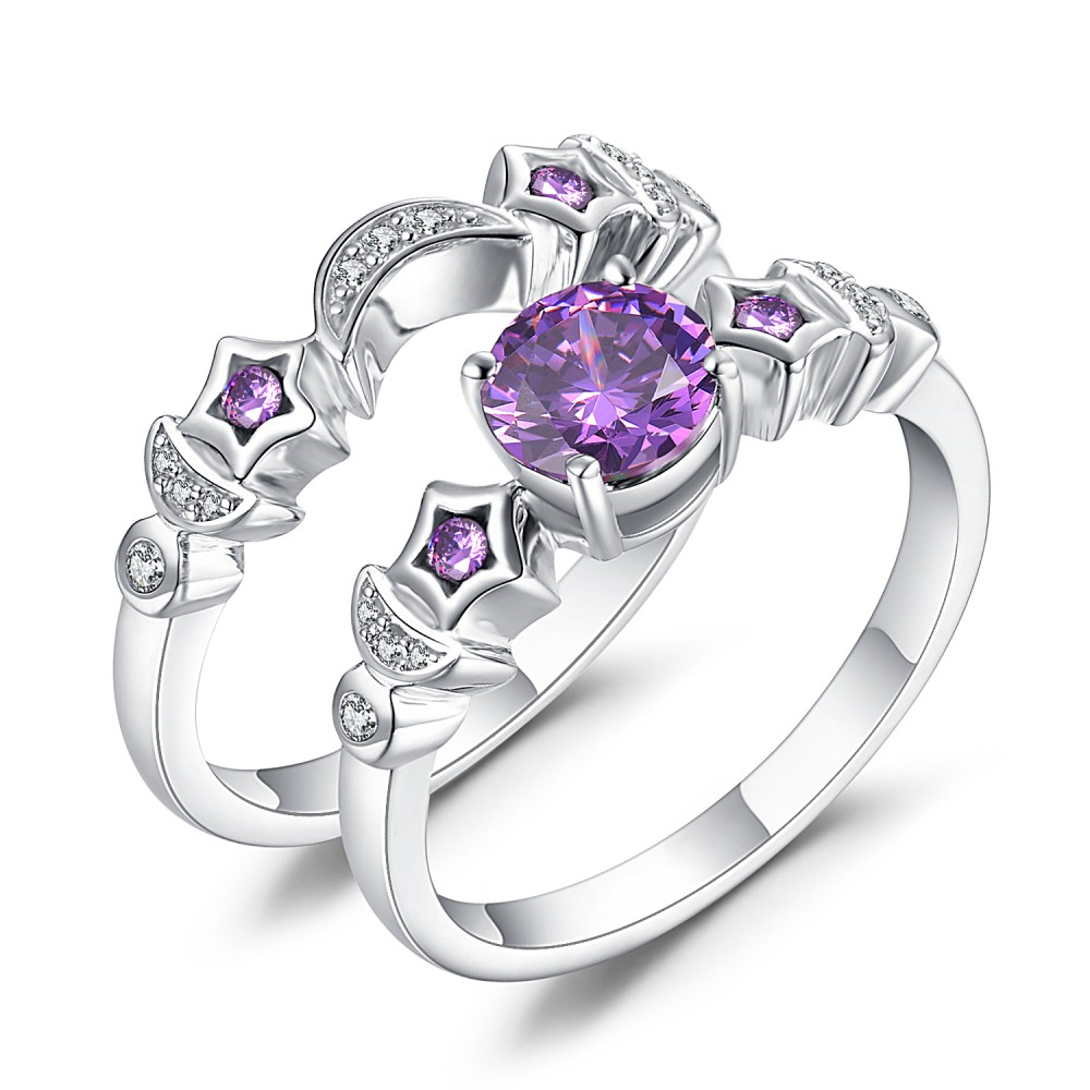 Sterling Silver Wedding Sets.Moon And Star Amethyst Sapphire 925 Sterling Silver Bridal Sets