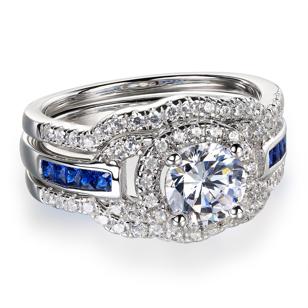 Wedding Rings Sets.Round Cut White Sapphire 925 Sterling Silver Women S Wedding Ring Set