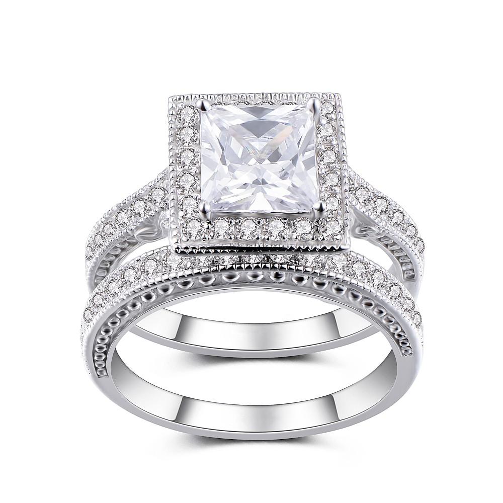 Princess Cut White Sapphire Sterling Silver Women's Bridal Ring Set