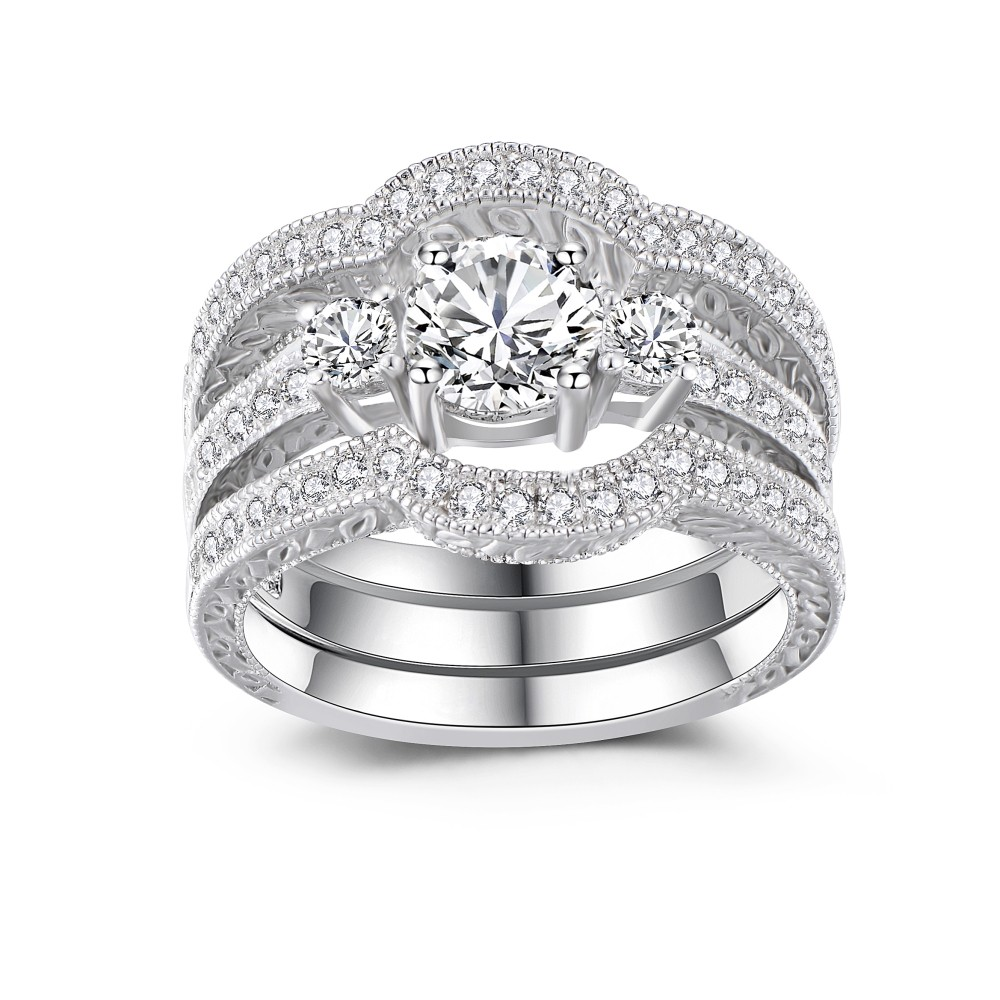 Classic Round Cut White Sapphire 925 Sterling Silver Women's