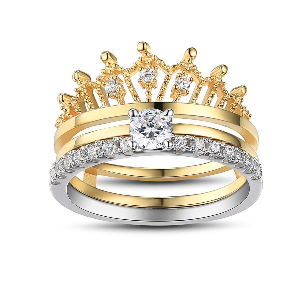 Womens Wedding Rings.Crown Round Cut White Sapphire Sterling Silver Women S Wedding Ring Set