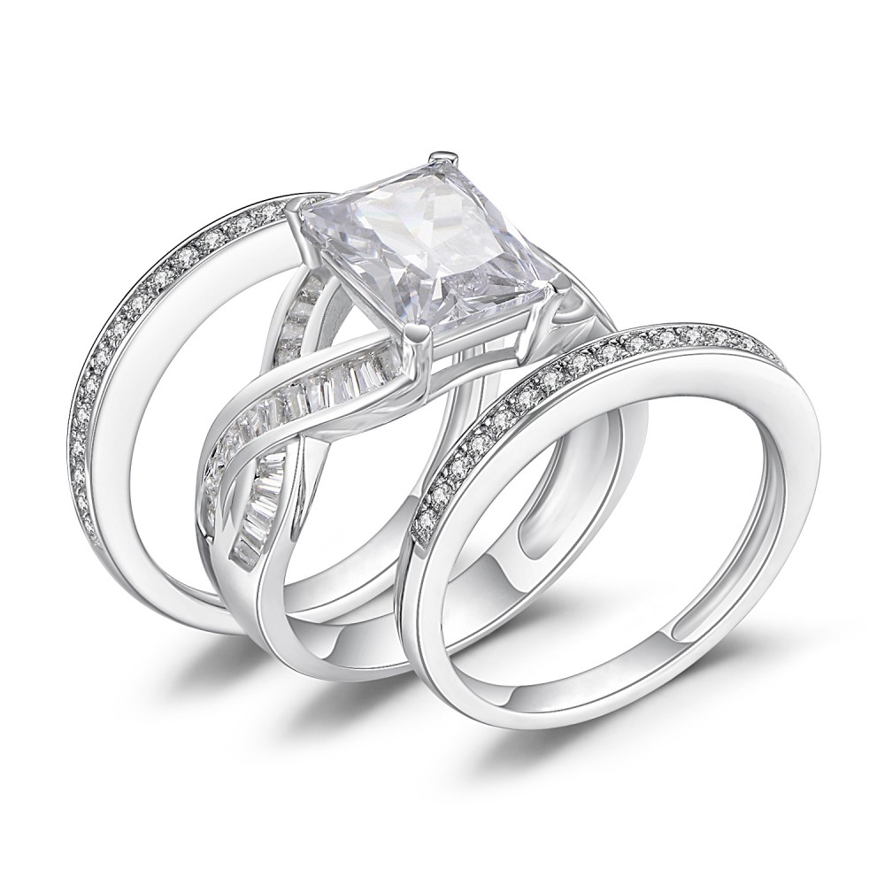 Emerald Cut White Sapphire 925 Sterling Silver Women S Bridal Ring Set Joancee Jewelry