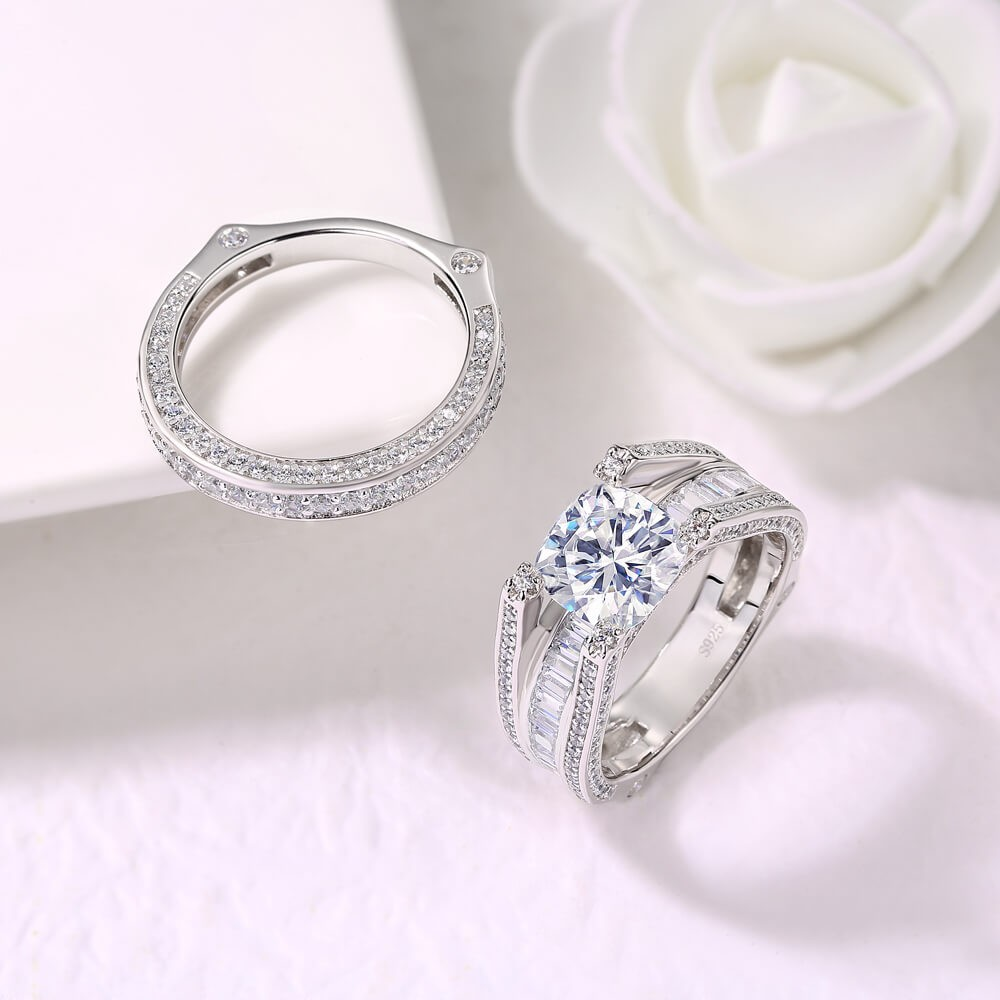 Cushion Cut White Sapphire 925 Sterling Silver 2 Pieces Bridal Ring Sets
