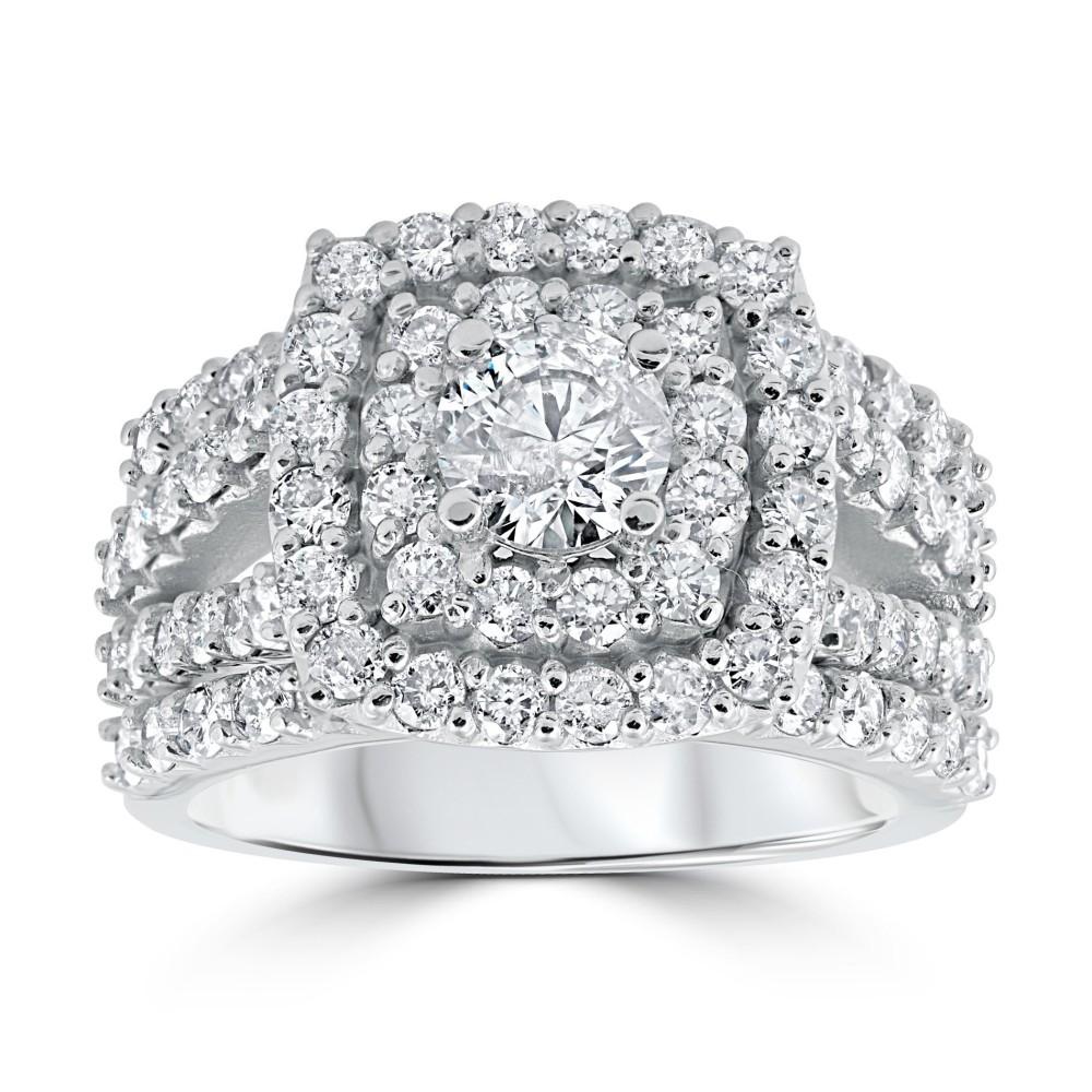 Platinum Sterling Silver Diamond Set White Sapphire Halo Round Cut Drop Earrings