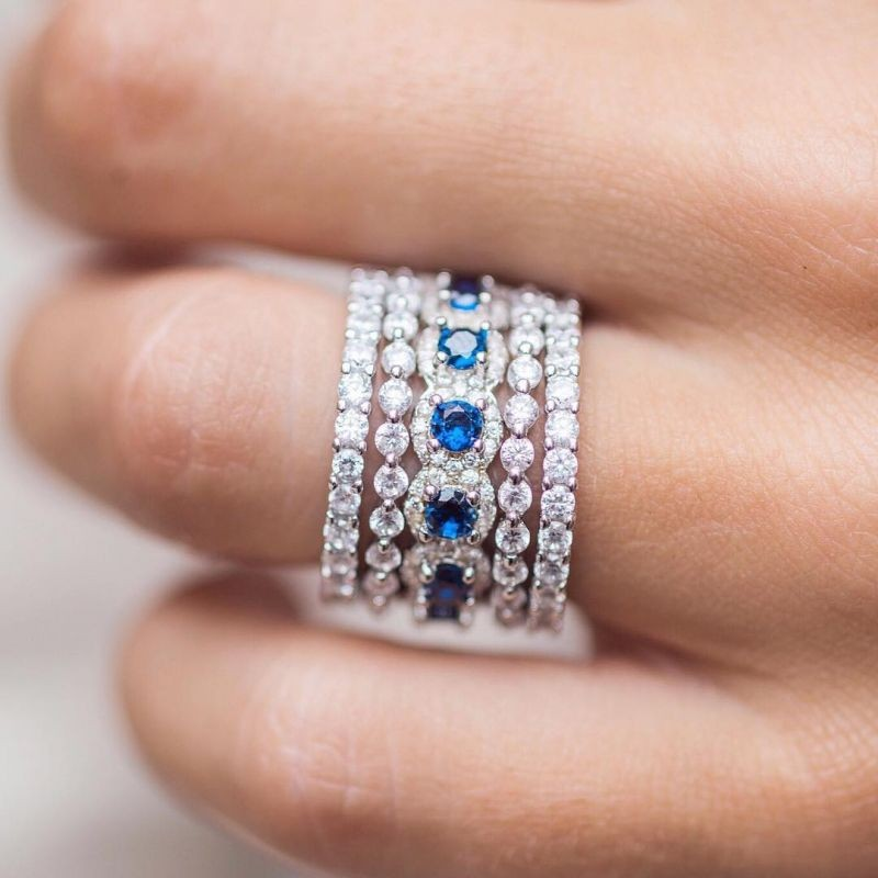 Elegant Round Cut Blue Sapphire 925 Sterling Silver 5 Pieces Halo Stackable Wedding Bands Set