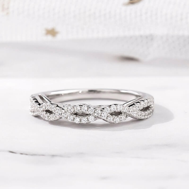 Twisted Round Cut White Sapphire 925 Sterling Silver Women's Wedding Band