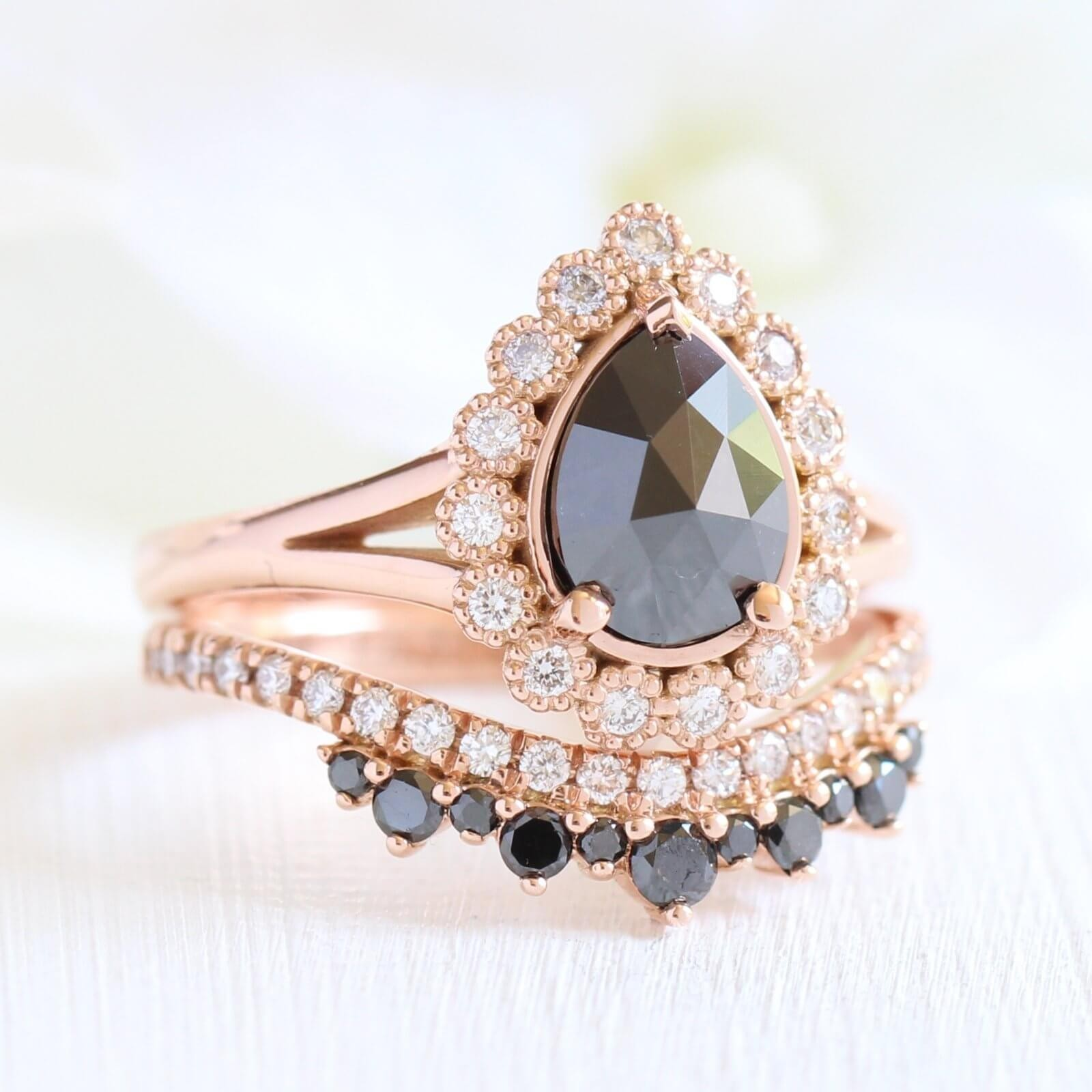 Rose Gold Pear Cut Black Sapphire Sterling Silver Halo Bridal Sets
