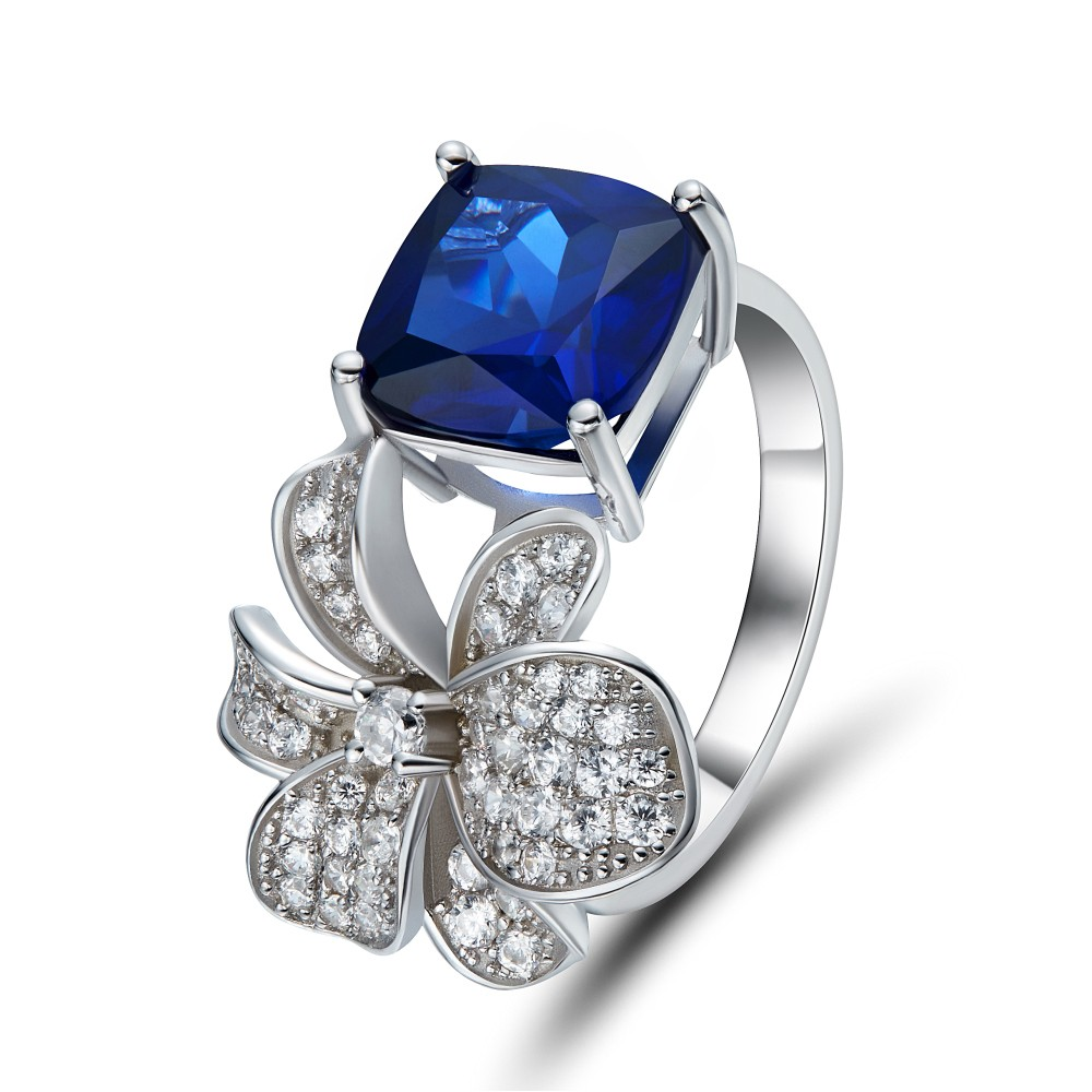 Cushion Cut Sapphire 925 Sterling Silver Cocktail Ring
