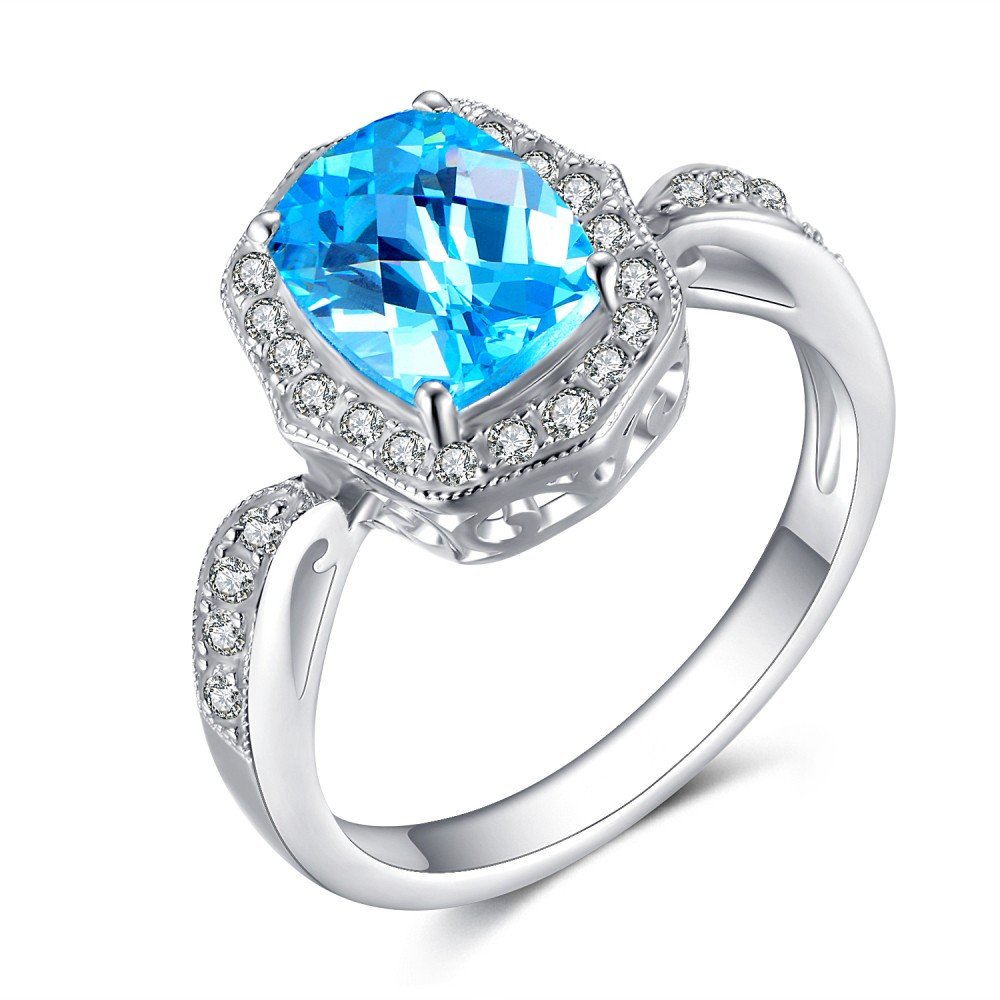 Cushion Cut Aquamarine 925 Sterling Silver Women's Engagement Ring