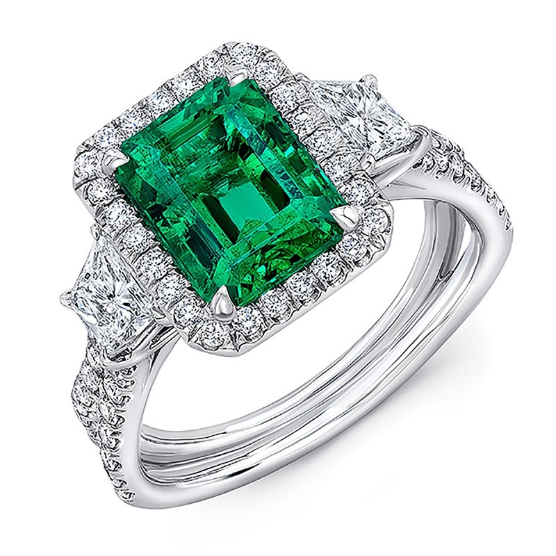 Emerald Cut Emerald 925 Sterling Silver Three-Stone Halo Engagement Ring
