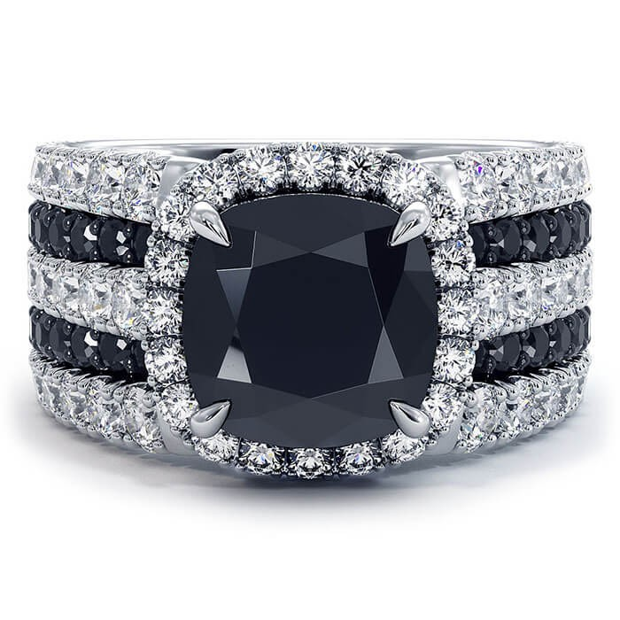 Cushion Cut Black Sapphire 925 Sterling Silver Halo Engagement Ring