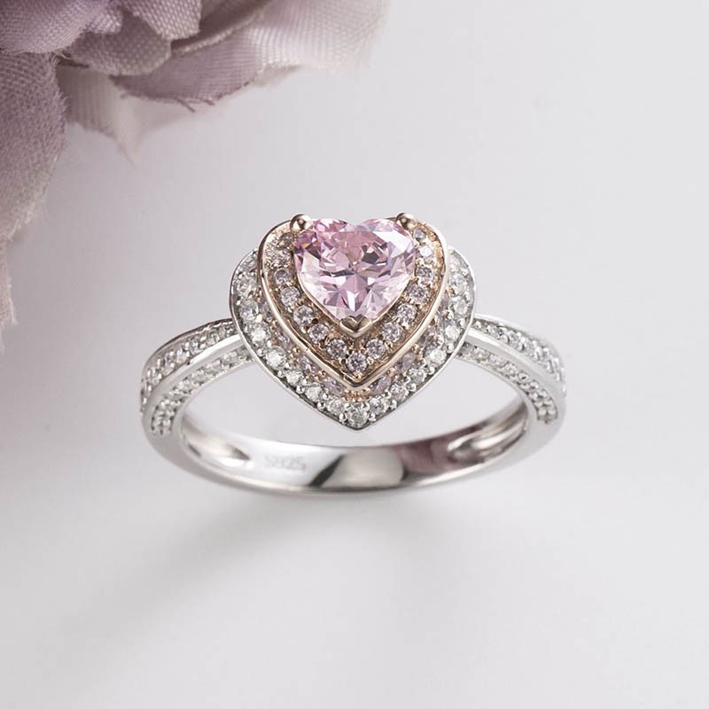Lovely Heart Cut Pink Sapphire Sterling Silver Two-Tone Double Halo Engagement Ring