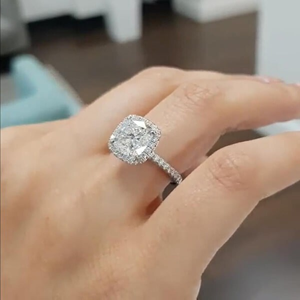 Cushion Cut White Sapphire 925 Sterling Silver Halo Engagement Ring Joancee Jewelry