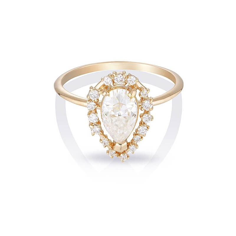 Gold Pear Cut White Sapphire 925 Sterling Silver Classic Engagement Ring