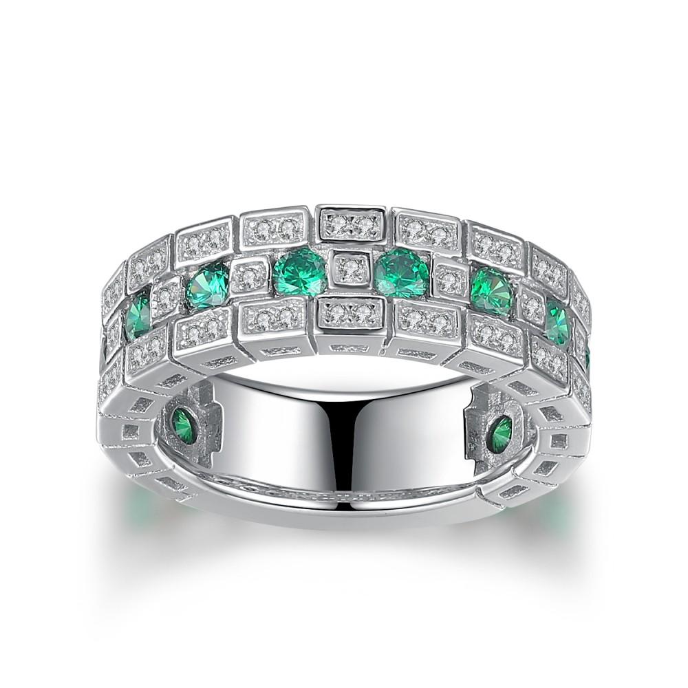 Round Cut Emerald 925 Sterling Silver Women's Wedding Band