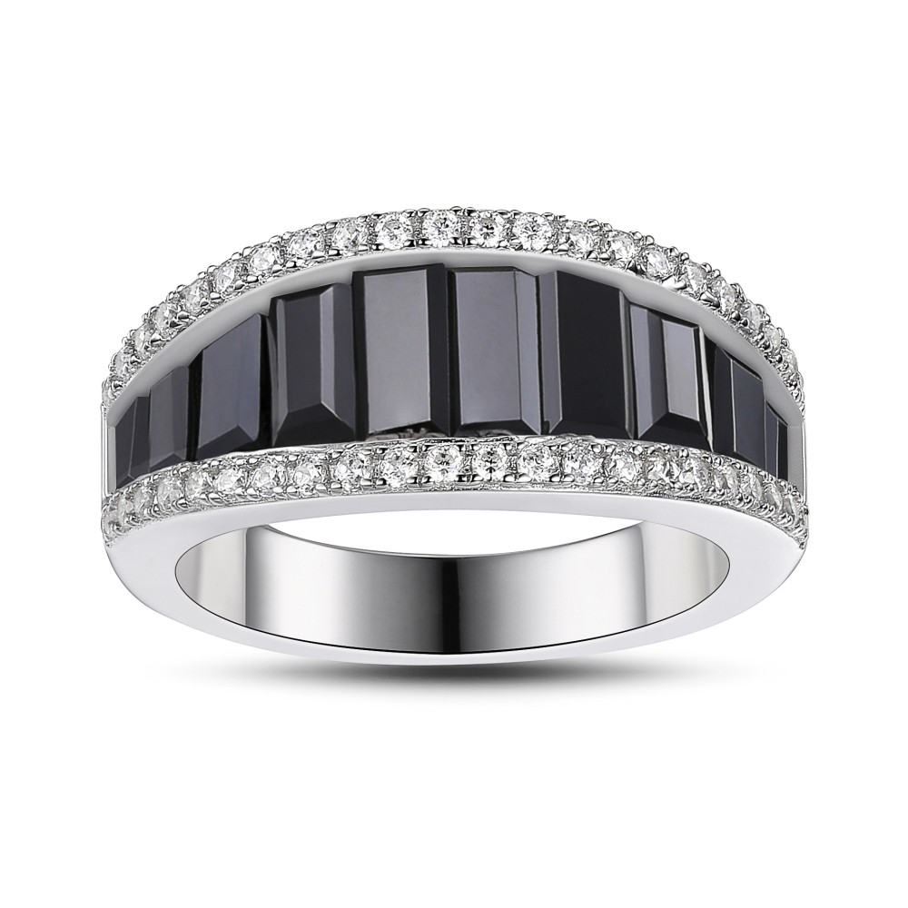 Black Sapphire 925 Sterling Silver Women's Wedding Bands