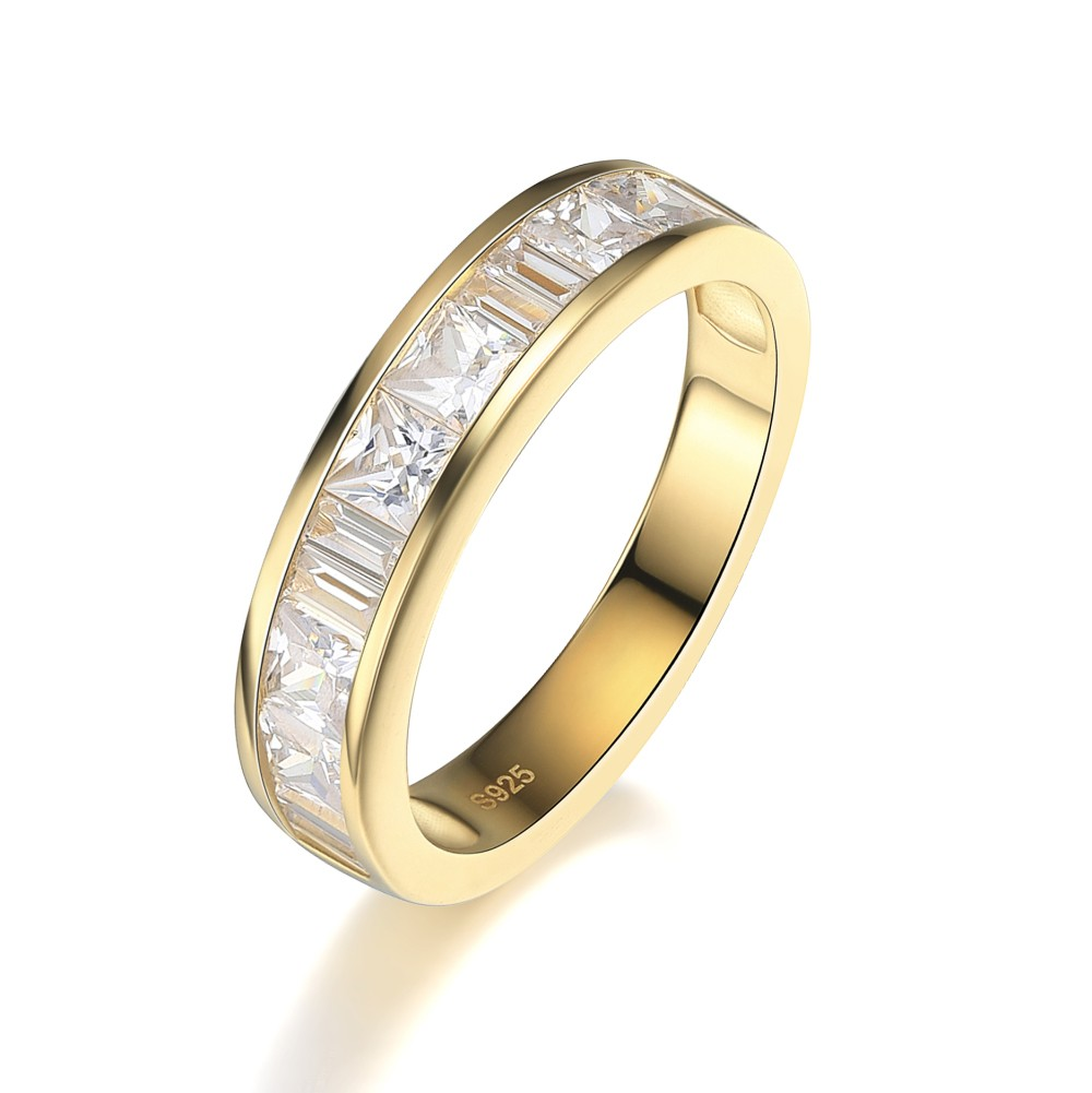 Princess Cut White Sapphire Gold 925 Sterling Silver Women s Wedding Bands  - Joancee Jewelry dc53f67927