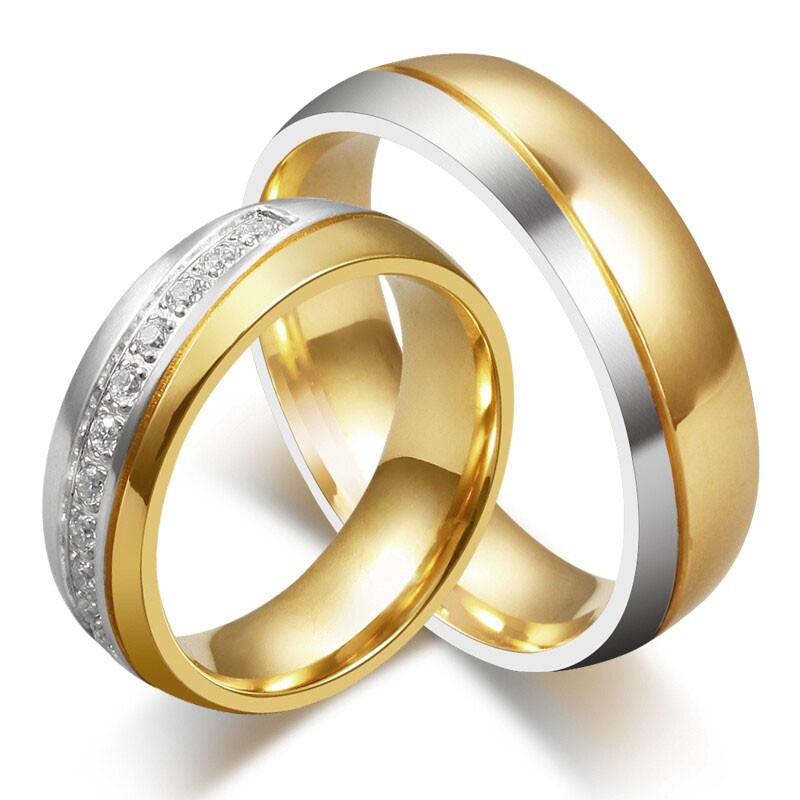 Elegent Gold and Silver Titanium Steel Gemstone Promise Ring for Couples