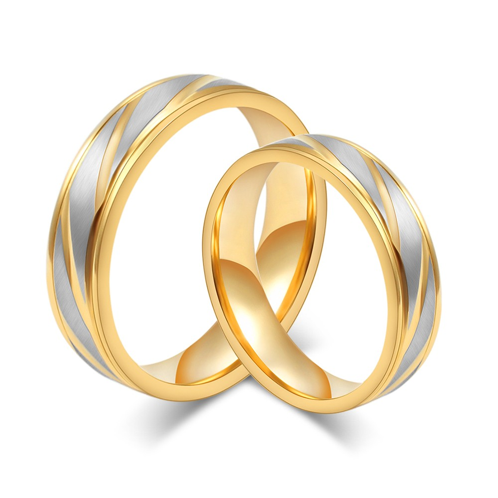 Gold and Silver Titanium Steel Promise Ring for Couples