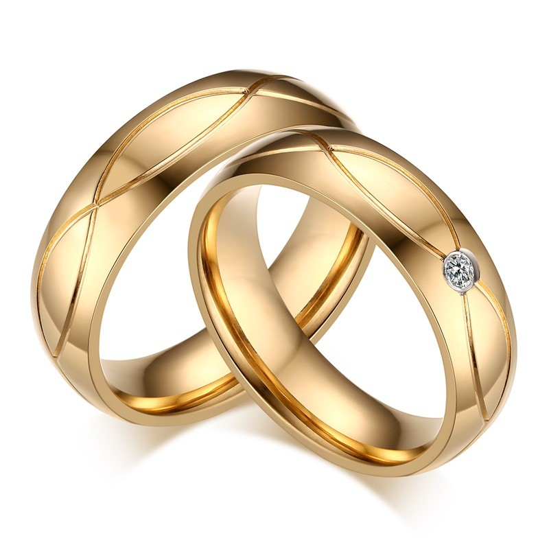 Gold Round Cut Gemstone Titanium Steel Promise Ring for Couples