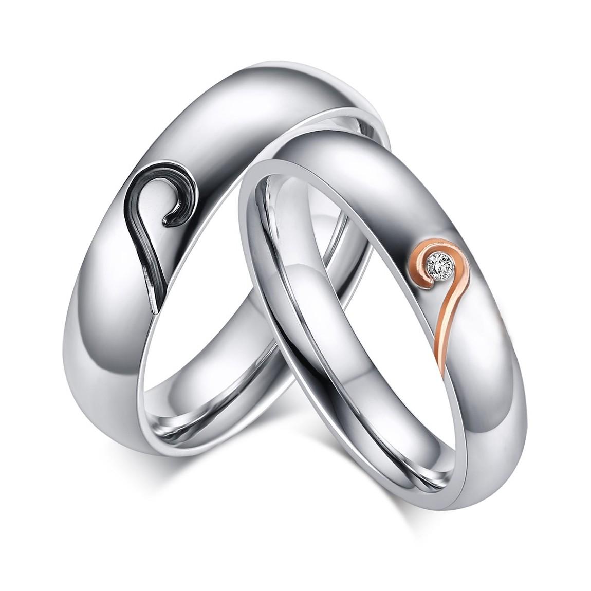 Heart Design Titanium Steel Gemstone Promise Ring For