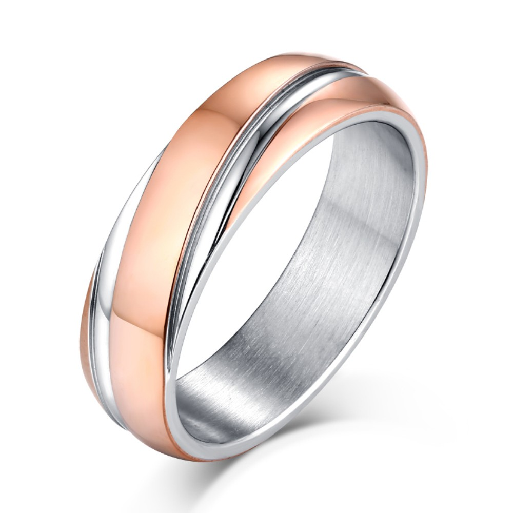 Rose Gold and Silver Titanium Steel Men's Ring