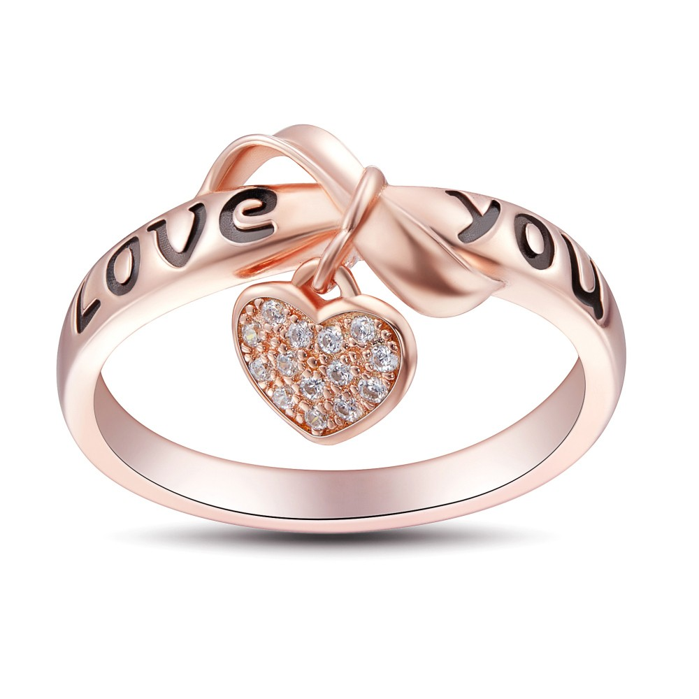 Bowknot Design Love You 925 Sterling Silver Women S Ring Joancee Jewelry