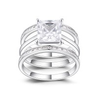 Classic Princess Cut White Sapphire 925 Sterling Silver Women's Ring Set