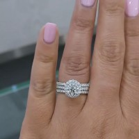 Round Cut White Sapphire Sterling Silver Halo 3 Pieces Wedding Ring Sets