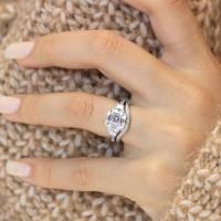 Asscher Cut White Sapphire 925 Sterling Silver 3-Stones Bridal Sets