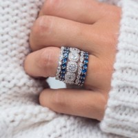 Asscher Cut White and Blue Sapphire Halo 925 Sterling Silver Stackable Eternity Bands Set