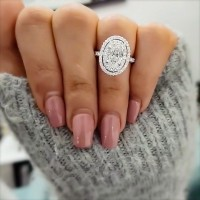 Oval Cut White Sapphire 925 Sterling Silver Halo Engagement Ring