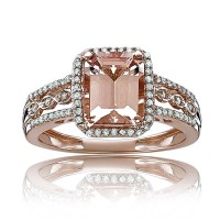 Rose Gold Emerald Cut Morganite-Pink Sapphire 925 Sterling Silver Double Halo Engagement Ring