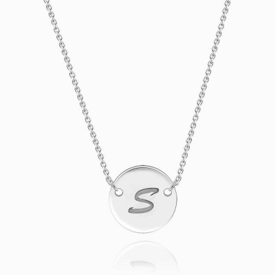 Engravable Coin Initial Silver Necklace