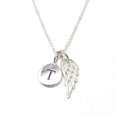 Initial Angel Wing 925 Sterling Silver Necklace