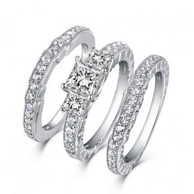 bf7271cf40 Princess Cut S925 Silver White Sapphire 3-Stone 3 Piece Ring Sets ...