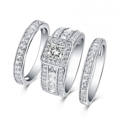 Cushion Cut White Sapphire 925 Sterling Silver 3 Piece Halo Ring Sets