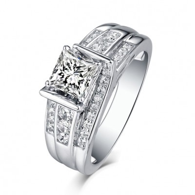 Princess Cut 925 Sterling Silver White Sapphire Engagement Rings
