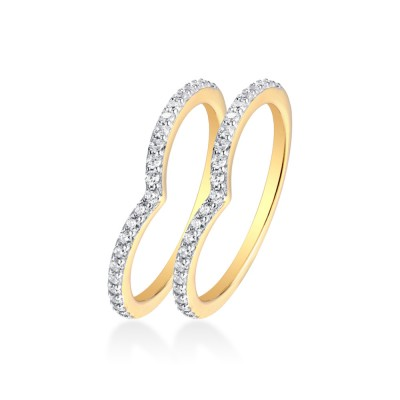 Gold Round Cut White Sapphire 925 Sterling Silver Curve Women's Wedding Band(One Piece)