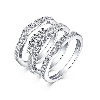 Round Cut White Sapphire 3 Piece 925 Sterling Silver 3-Stone Ring Sets