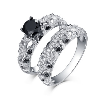 Round Cut Black Sapphire 925 Sterling Silver Ring Sets