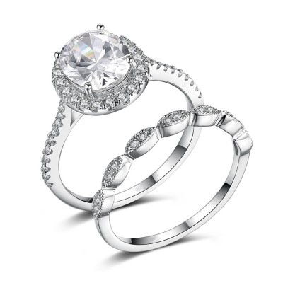 Oval Cut Gemstone 925 Sterling Silver Bridal Sets