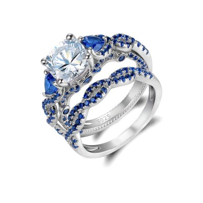 Cushion Cut Blue Sapphire Sterling Silver 2 Pieces Twisted Bridal Sets