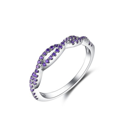Twisted Round Cut Amethyst Sterling Silver Women's Wedding Band