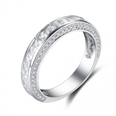 Princess Cut White Sapphire Sterling Silver Wedding Bands