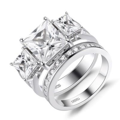 Three Stone Princess Cut White Sapphire 925 Sterling Silver Bridal Sets