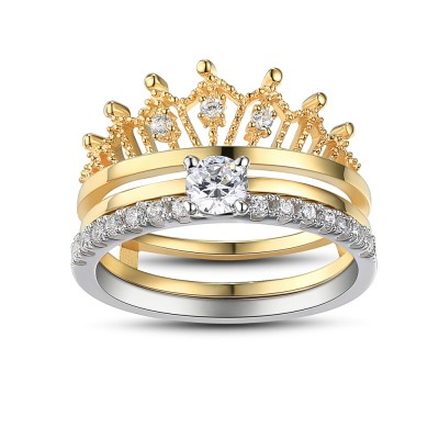Crown Round Cut White Sapphire Sterling Silver Women's Wedding Ring Set